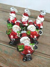 Lot of 6 Vtg Christopher RADKO Celebrations Santa XMAS GLASS Ornaments Holiday