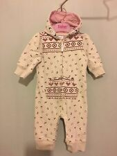 Cute Baby Girls Horse Shoe Print Hooded Romper Suit 3-6m 💫