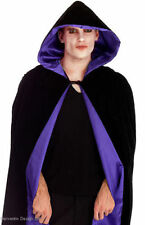 DELUXE LONG BLACK HOODED CAPE CLOAK PURPLE HALLOWEEN MEDIEVAL FANCY DRESS 62""