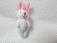 MINIATURE TINY SMALL JOINTED 3.5cm TALL WHITE & PINK BUNNY RABBIT DOLL HOUSE