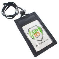 2 pcs Slim ID Badge Holder Neck Wallets w Vertical Front Display & Zipper Pocket