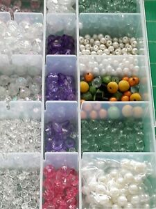 Job Lot Mixed Pearls + Beads for Jewellery making + Box
