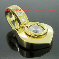 Genuine Real Solid 9k Yellow Gold Engagement Wedding Fine 3D Pendant Lab Diamond