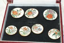 """7 Antique Satsuma Button Colorful  Flowers Border -3X 1"""" & 4X 3/4"""" IVORY BOX TOO"""