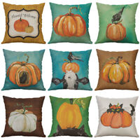 "18"" Pumpkin Print Cotton Linen Cushion Cover Pillow Case Sofa Home Decor"