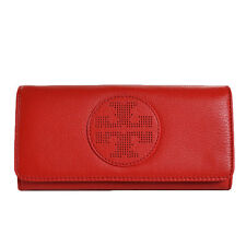 NEW Tory Burch Kipp Envelope Continental Wallet Tory Red