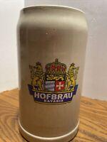1 Liter German Ceramic Beer Mug/Stein Hofbrau Bavaria Crown Crest Label