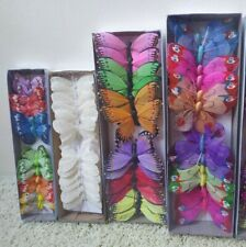 Wholesale Lot 12 Faux Feather Butterflies Crafts Weddings Floral Supplies