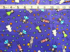7/8 yd Cotton Fabric Halloween Purple w/Kids in Costumes Mummy/Ghost/Pirate