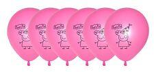 Peppa Pig Pink Latex Balloons x 6 Party Decoration Cartoon Pig Helium Balloon