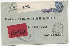 * 1918 FENCHURCH ST LONDON >SWITZERLAND PERFIN 5½d EXPRESS COVER W F MALCOLM WW1