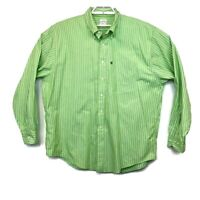Brooks Brothers 346 Mens Green Striped Long Sleeve Shirt Size XL