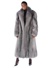 Long Real Fox Fur Coat for Women - Dyed Blue Frost Fox