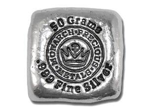 1  -  50 Gram. 999 Fine Silver Bar - Monarch - Hand Poured - IN STOCK