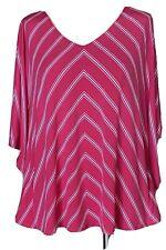 Susan Graver Striped Liquid Knit V-Neck Scarf Top Pink White Stripes Size Small