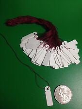 100 Small White Jewelry Price Label Tags Strung with Burgundy Strings 1