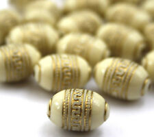 20 x Cream Gold Metal Enlaced Jewellery Making Beads 9 x 13mm