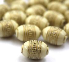 20 x Creme Gold Metall Enlaced Perlen Für Die Schmuckherstellung 9 x 13mm