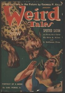 Weird Tales 1940 January. Cover by Virgil Finlay.