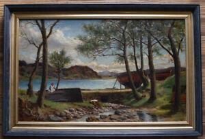 W Hall Maxwell – Scottish Impressionist West Coast Landscape Oil Painting Boats