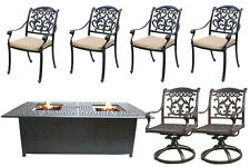 Backyard Fire Pit Propane Table 7 Piece Cast Aluminum Outdoor Patio Furniture