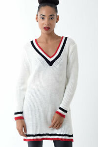 Womens  Knitted Jumper Dress Ladies White Long Sleeve Winter Warm Sweater Blouse
