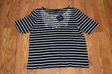 NWT Womens RAFAELLA Short Sleeve Black White Embroidered Blouse Shirt Size S