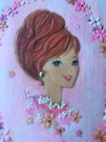 Vintage Birthday Card MCM Woman's Head Mod Red Hair Kittens Pink Yarn Hallmark