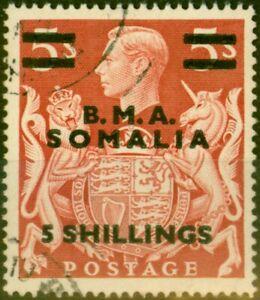 British Occu Somalia 1948 5s on 5s Red SGS20 Very Fine Used