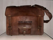 "18"" Men's Computer Briefcases Handmade Soft Natural Leather Satchel Laptop Bag"