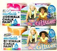 2 Packs RoseArt Washable Sidewalk Chalk Glitter Pink Purple Orange & Blue Paint