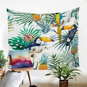 Toucan Bird Tropical Leaf Wall Tapestry Hanging Throw Cover Home Room Decoration