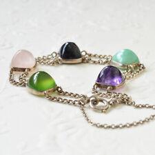 Antique Arts & Crafts Multi Gemstone Silver Bracelet Amethyst Amazonite Agate