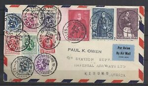 Belgium 1931 Letter IMPERIAL AIRWAYS to KISUMU,Kenya-Transit via UK & Egypt