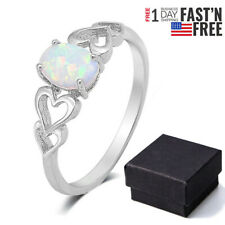 White Opal Love Heart Cutout Promise Ring 925 Sterling Silver Jewelry Size 6-10