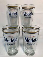 4 Modelo Especial 16 Oz Pint Beer Glasses Barware Man Cave Euc