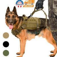 Adjustable Tactical Police K9 Training Dog Harness Military Nylon Vest+Leash