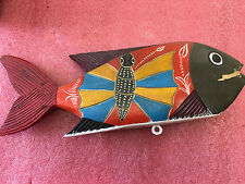 """BS7 Vintage Oriental carved wooden wood fish painted beautiful 12"""" L  1 on ebay!"""