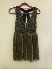 Topshop Black Gold Dress Greek Plunge Size 10 Brand New With Tags