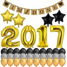 2017 Graduation Party Supplies Gold Foil Balloons Decorations + IM DONE Banner