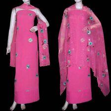 HOT PINK GRGT CREPE SALWAR KAMEEZ SUIT DRESS MATERIAL HEAVY DUPATTA LADIES DEN