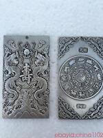 old tibetan tibet silver Chinese Ssangyong Longevity Amulet plate thangka