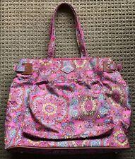 Euc Oilily Diaper Bag with Changing Pad, Rose Mandala Print, Aqua Interior Nice