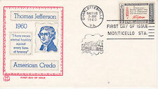 POSTAL HISTORY-1960 FDC THOMAS JEFFERSON AMERICAN CREDO ISSUE TRI-COLOR CACHET