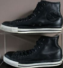 Converse Leather Lace Hi Tops - UK Size 7 - All Black & White - Unisex Trainers