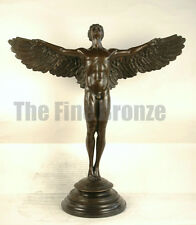 "SIGNED A.A.Weinman, bronze Sculpture winged man nude Icarus ""Rising Sun"""