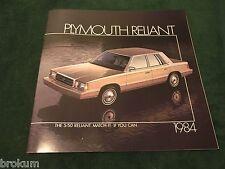"MINT 1984 PLYMOUTH RELIANT ORIGINAL DEALER SALES BROCHURE 11"" X 11"" (BOX 658)"