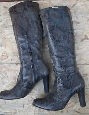 Karen Miren Snakeskin Vintage Real Cuir Leather Knee Length boots UK 6.5 UE 39.5