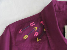 Levi's Western Long Sleeve Shirt-Purple/Pink-Embroidered Arrows-Size S -NWT $78
