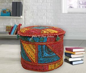 Boho Pouffe Cover Ottoman Cotton Embroidered Mirror Patchwork Round 18 Inch